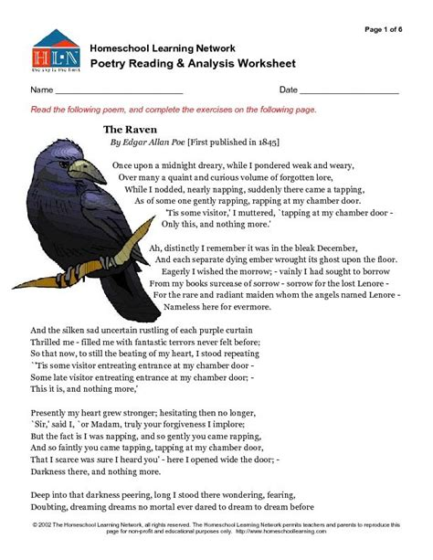 poetry reading and analysis worksheet the worksheet