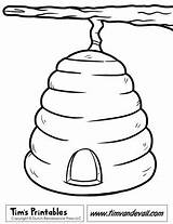 Coloring Pages Beehive Bee Template Tree Quiet Discover Crafts Shape sketch template