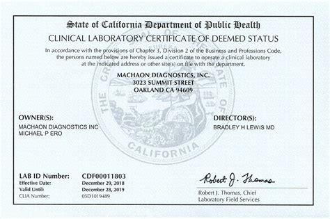 Health is the primary key to a fair and peaceful life. Lab Licenses - Machaon Diagnostics
