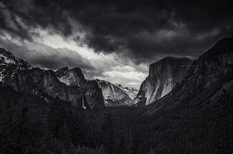 Landscape, Nature, Monochrome, Mountain, Forest, Yosemite Valley, Yosemite National Park, El