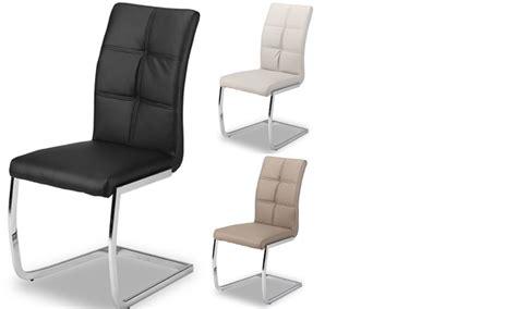chaises design salle à manger chaise de salle a manger design en pu et pieds chrome
