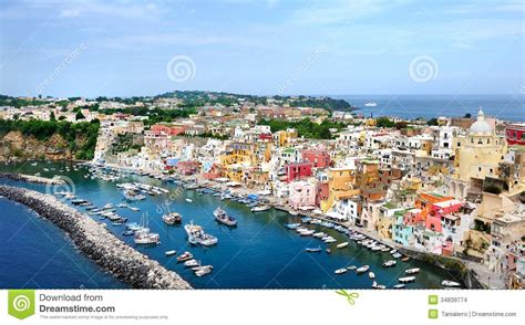 Procida Island Panoramic View In Naples Gulf Stock Photo