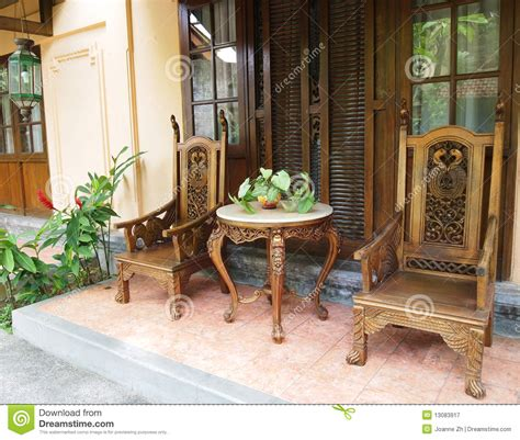 balinese furniture  patio royalty  stock photography