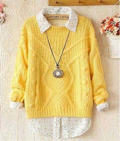 Sweater clothes yellow cute tumblr hair accessory blouse - Wheretoget
