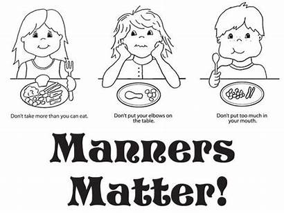 Manners Coloring Pages Table Preschool Clip Manner