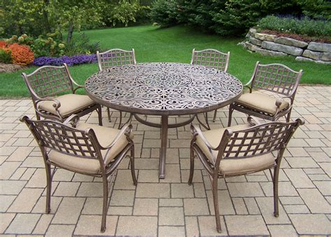 oakland living aluminum 7 pc patio dining set w 60 quot