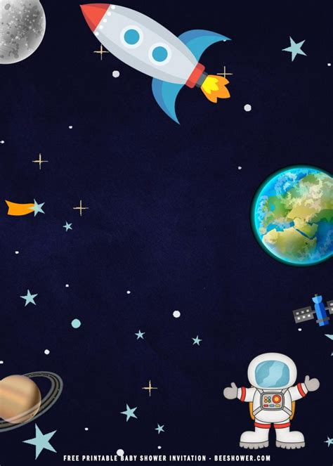 printable space astronaut baby shower party