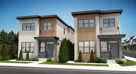 narrow lot contemporary duplex house plan hunters home
