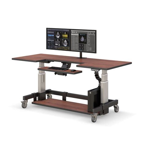 large adjustable height desk adjustable height rolling computer desk afcindustries com