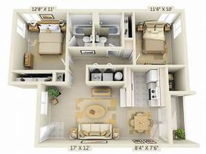 3d floor plan image 1 for the 2 bed 2 bath floor plan of With small apartment floor plans 3d