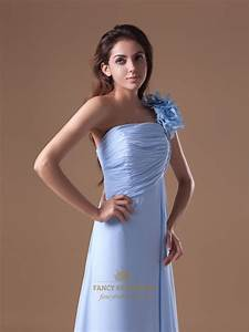 Light Blue Chiffon One Shoulder Bridesmaid Dresses With ...