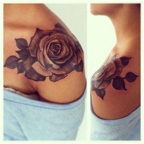 rose flower shoulder tattoo  girls magpie tattoo