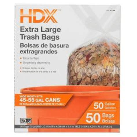 Home Depot Kitchen Garbage Bags by Hdx 50 Gal Large Clear Trash Bags 50 Count