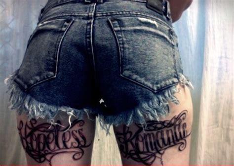 Hopeless Romantic Back Thigh Tattoos