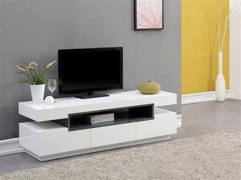 cuisine laque blanc meuble tv muni d 39 une niche et de 3 tiroirs de rangement en