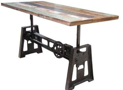 Amazing Reclaimed Wood And Iron Crank Table  It Adjusts