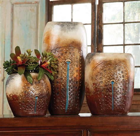 turquoise falls pottery vases set