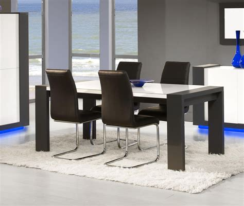 table de salle manger design blanc laqu 233 et anthracite nestor table 224 manger design table de