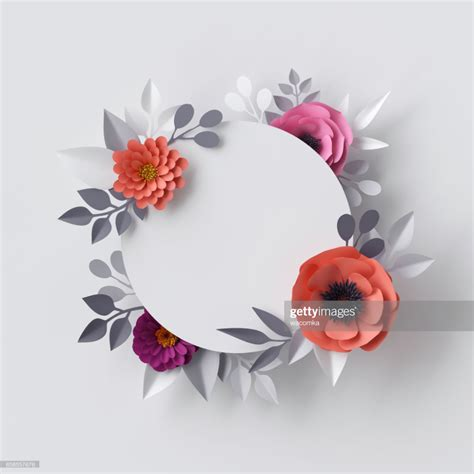 render abstract paper flowers floral background