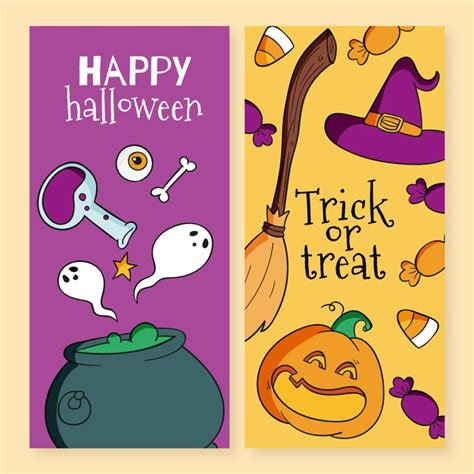 Make your own halloween banner or garland with this diy happy halloween banner svg kit. Free Vector | Halloween festival banners