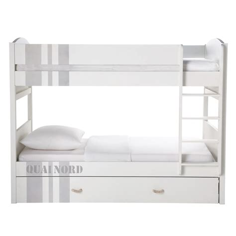 lit superpose en bois blanc mzaol