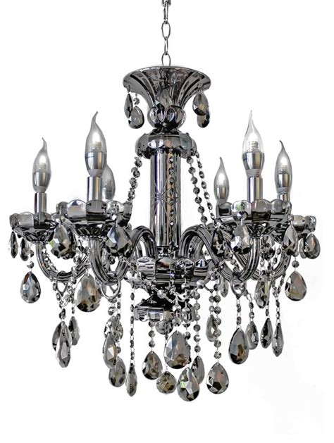 6 light smoked mirrored silver chandelier light