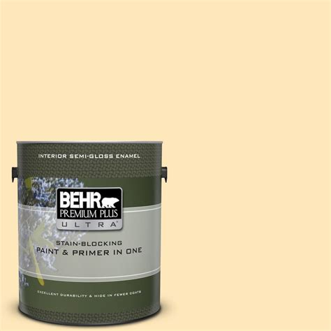 behr premium plus ultra 1 gal ppl 69 sunkissed yellow gloss enamel interior paint and