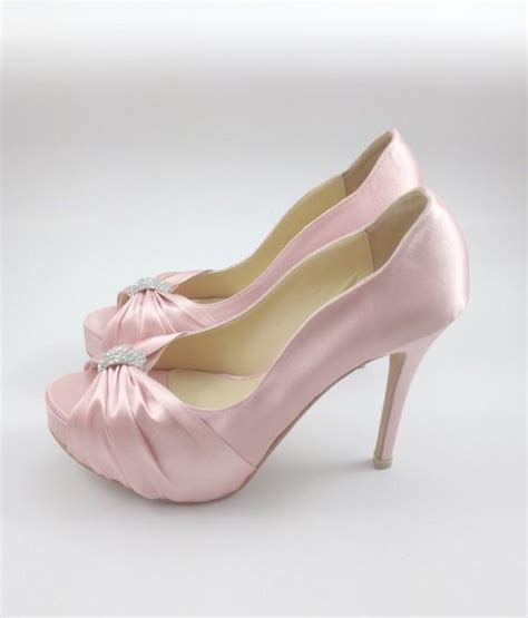 Sweet Pink Wedding Shoes With Rhinestones, Pastel Pink
