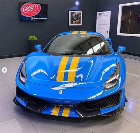 A ferrari is not for the understated nor is it an ostentatious choice.& a ferrari is for the serious car enthusiast wanting nothing but the best for. Azzurro Dino Ferrari 488 Pista with Yellow Stripes Shows Bold Spec - autoevolution