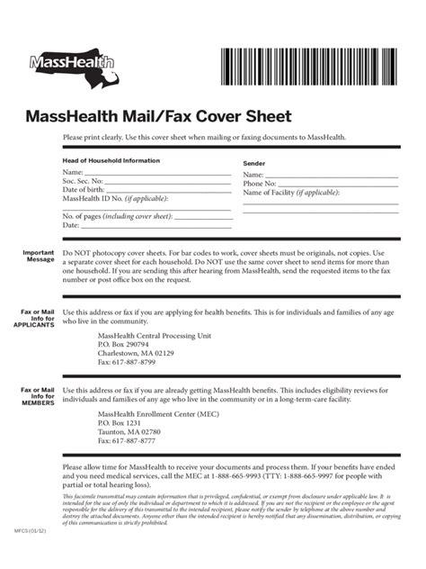masshealth fax cover sheet   templates   word