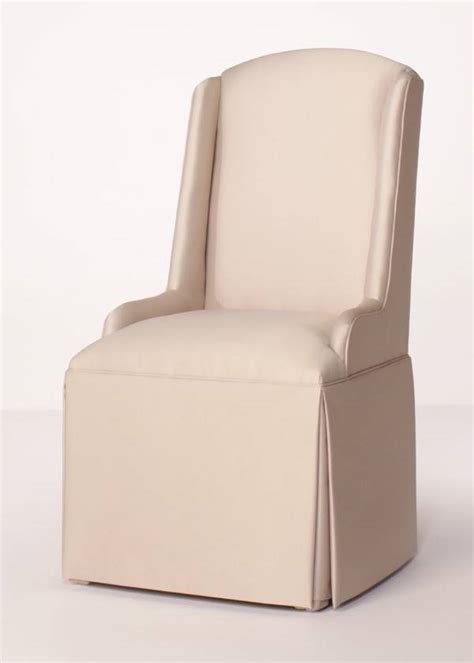 skirted parsons chair crescent back parsons wing chair with kick pleat skirt