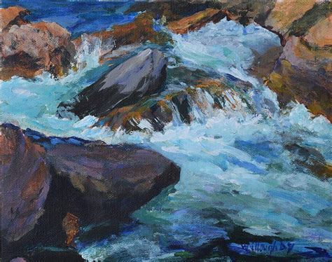 rushing river painting by joan willoughby