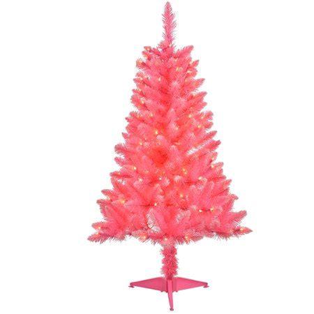 walnart 4 ft pre lit rose tinsel christmas tree 4 pre lit pink tinsel artificial tree clear lights walmart