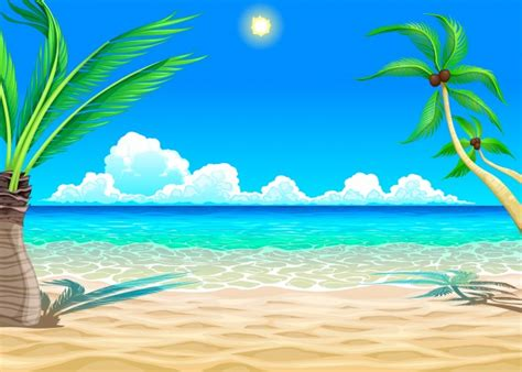 Beach Cartoon Illustration Vector  Free Download