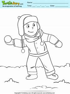 Boy Playing With Snowball Coloring Sheet