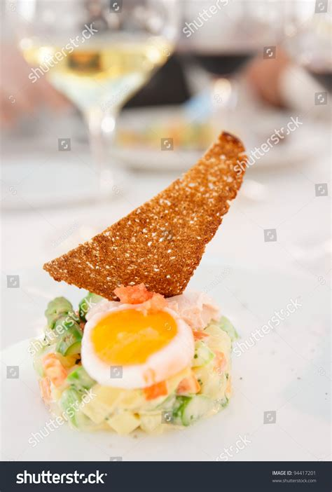 haut cuisine haute cuisine appetizer on restaurant table stock photo
