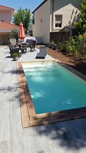Piscine Avec Terrasse Bois : mini piscine avec margelle en bois exotique et terrasse carrel e et escalier droit mini ~ Nature-et-papiers.com Idées de Décoration