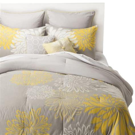 target grey comforter anya 8 floral print bedding set gray yellow target