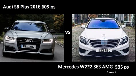 Audi S8 Plus 2016 Vs Mercedes S63 Amg W222 0-250 Kmh