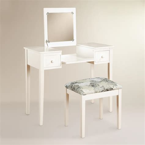 White Bedroom Vanity Set by White Wood Margaret Vanity Set World Market