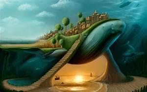 Humpback_whales Picture (2d, surrealism, fantasy ...