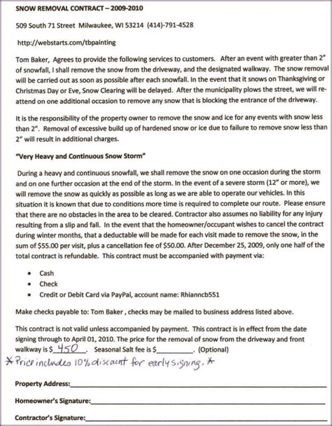 Snow Removal Contract Template Free by Snow Removal Contract Template Free Sletemplatess