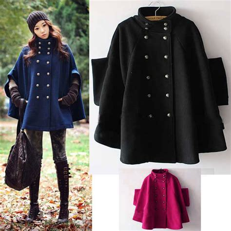 fashion womens bre asted batwing cape wool poncho coat jacket ebay
