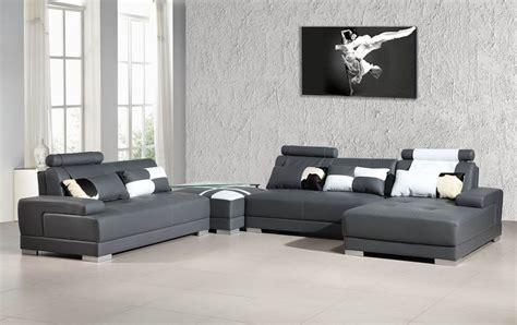 Modern Leather Furniture by Divani Casa Phantom Modern Grey Bonded Leather Sectional