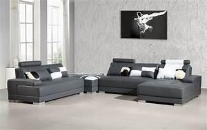 Divani casa phantom modern grey leather sectional sofa for Mancini modern sectional sofa and ottoman set