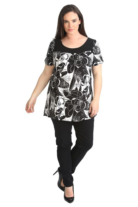 New Womens Plus Size Top Ladies Floral Print Tunic Stretch ...