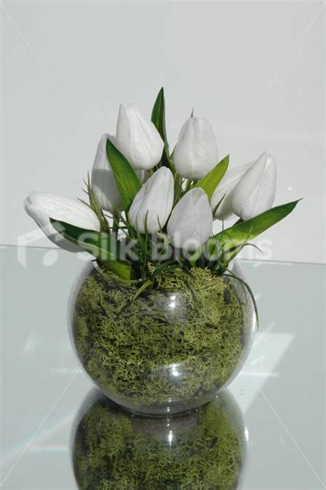 Table Vase by Shop Small White Tulip Floral Home Arrangement Table Vase