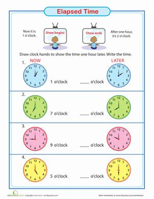elapsed time one hour later worksheet education com