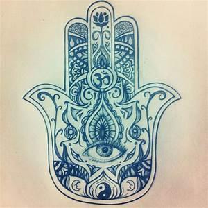 Hamsa Evil Eye Drawing   Sternum Tattoo   Pinterest ...