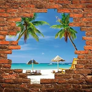 Mur Trompe L Oeil : sticker mural trompe l 39 oeil mur de pierre palmiers stickers muraux deco ~ Melissatoandfro.com Idées de Décoration